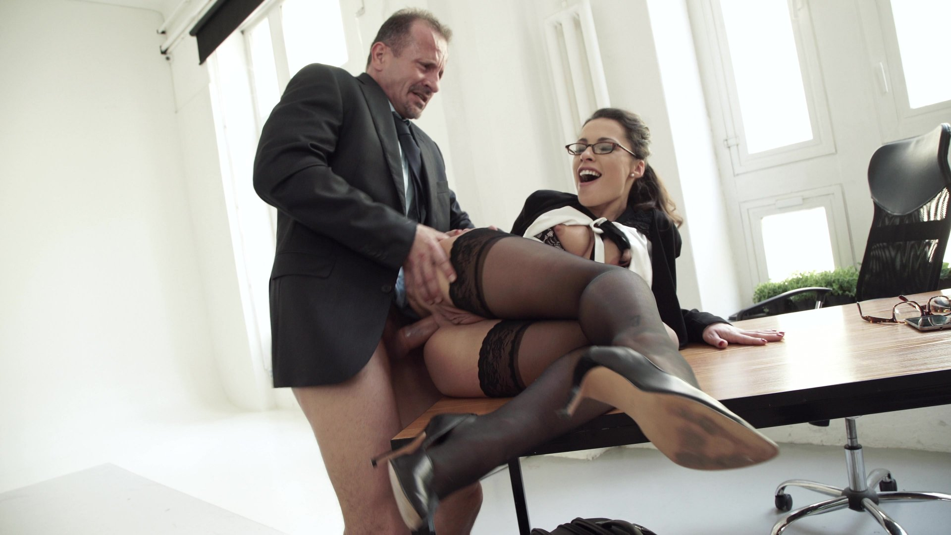 Blonde fucked with stockings on couch